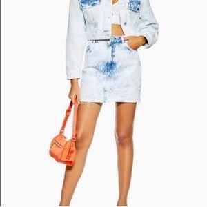 Topshop Bleach Acid Wash Denim Frayed Skirt